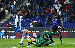 January 4, 2019 - Barcelona, Spain - Didac Vila, Cuellar and Nyom during the match between RCD Espanyol and CD Leganes, corresponding to the week 18 of the Liga Santander, played at the RCDE Stadium on 04th January 2019 in Barcelona, Spain. (Credit Image: © Joan Valls/NurPhoto via ZUMA Press)
