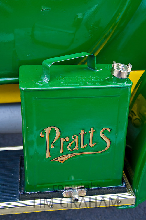 Petrol can on vintage 1912 Renault car, Gloucestershire, United Kingdom