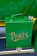 Petrol can on vintage 1912 Renault car, Gloucestershire, United Kingdom