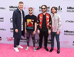 (L-R) Musicians Dan Reynolds, Ben McKee, Daniel Platzman and Wayne Sermon of Imagine Dragons at 2017 Billboard Music Awards held at T-Mobile Arena on May 21, 2017 in Las Vegas, NV, USA (Photo by Jason Ogulnik) *** Please Use Credit from Credit Field ***