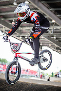 #163 (CORNUTELLO Valentin) FRA at Round 5 of the 2019 UCI BMX Supercross World Cup in Saint-Quentin-En-Yvelines, France
