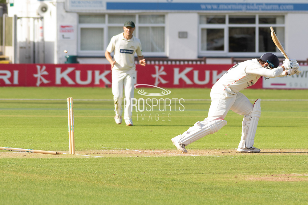 WICKET - Rob Jones is bowled by Ben Mike during the Specsavers County Champ Div 2 match between Leicestershire County Cricket Club and Lancashire County Cricket Club at the Fischer County Ground, Grace Road, Leicester, United Kingdom on 25 September 2019.