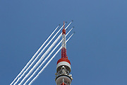 "The JASDF Blue Impulse aerobatics team do a fly past over Tokyo Tower in Tokyo. Friday May 29th 2020 . From 12:40 to 1pm the Kawasaki T4 aircraft of the Japanese Air Self Defence Force aerobatics display team circled the major sites of the city along with hospitals caring for Corona patients, trailing white smoke, as a ""thank you"" to healthcare workers for their efforts during the  COVID-19 State of Emergency that was ended on Monday, May 25th The JASDF Blue Impulse aerobatics team do a fly past over Tokyo Tower in Tokyo. Friday May 29th 2020 . From 12:40 to 1pm the Kawasaki T4 aircraft of the Japanese Air Self Defence Force aerobatics display team circled the major sites of the city along with hospitals caring for Corona patients, trailing white smoke, as a ""thank you"" to healthcare workers for their efforts during the  COVID-19 State of Emergency that was ended on Monday, May 25th"