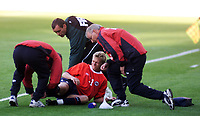 Wc-qual, Norway - Wales, Oslo, Ullevaal Staddium. Norway and Tottenhams Steffen Iversen got problems with his leg. He had to leave the match after a f. minutes.