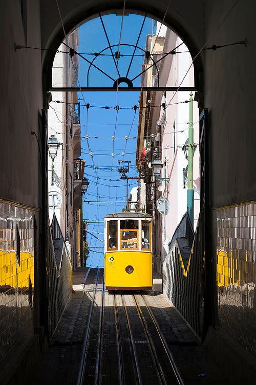 Bica Funicular - Elevador da Bica - for local people and tourists on tram tracks up steep hill links Bairro Alto in Lisbon, Portugal