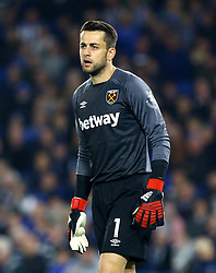 """West Ham United goalkeeper Lukasz Fabianski during the Premier League match at the AMEX Stadium, Brighton. PRESS ASSOCIATION Photo. Picture date: Friday October 5, 2018. See PA story SOCCER Brighton. Photo credit should read: Gareth Fuller/PA Wire. RESTRICTIONS: EDITORIAL USE ONLY No use with unauthorised audio, video, data, fixture lists, club/league logos or """"live"""" services. Online in-match use limited to 120 images, no video emulation. No use in betting, games or single club/league/player publications."""