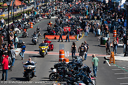 Lakeside Avenue in Weirs Beach from the tower during Laconia Motorcycle Week. NH, USA. Friday, June 15, 2018. Photography ©2018 Michael Lichter.