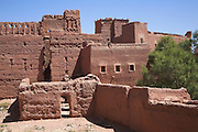 Adobe walls part of the fortress complex making up the Kasbah Taorirt, built by the el Glaoui dynasty, Ouarzazate, Morocco, north Africa