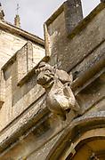 Village parish church of Saint Mary, Steeple Ashton, Wiltshire, England, UK grotesque stone carved monster