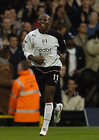 Fotball<br /> Premier League England<br /> 2004/2005<br /> 16.10.2004<br /> Foto: BPI/Digitalsport<br /> NORWAY ONLY<br /> <br /> Fulham v Liverpool<br /> <br /> A beaming Luis Boa Morte celebrates after making it 1-0 to Fulham