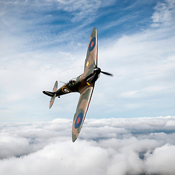 Mk 1 Spitfire P9374 which has been restored.Started flying again after it was salvaged from a beach at Calais in 1980 after being shot down in 1940.The restoration by the Aircraft Restoration Co. at Duxford has taken several years Spitfire Mk1