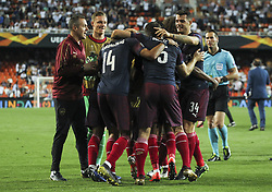May 9, 2019 - Valencia, Valencia, Spain - Players of Arsenal celebrating during UEFA Europa League football match, between Valencia and Arsenal, May 09th, in Mestalla stadium in Valencia, Spain. (Credit Image: © AFP7 via ZUMA Wire)