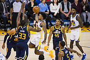 Golden State Warriors guard Nick Young (6) takes the ball to the basket against the Utah Jazz at Oracle Arena in Oakland, Calif., on December 27, 2017. (Stan Olszewski/Special to S.F. Examiner)