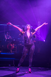 Edinburgh, Scotland, United Kingdom. 21November, 2017. Cabaret group Le Clique present their Christmas show Le Clique Noel at the Spiegeltent in Edinburgh as part of the city's annual Christmas festivities. Cabaret Diva Bernie Dieter performs on stage.