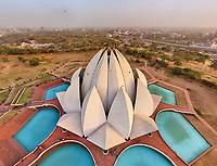 Aerial view of Lotus Temple, Delhi, India