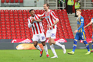 #25 peter crouch for stoke city celebrates a goal but it was disallowed for offside during the The FA Cup 3rd round replay match between Stoke City and Shrewsbury Town at the Bet365 Stadium, Stoke-on-Trent, England on 15 January 2019.
