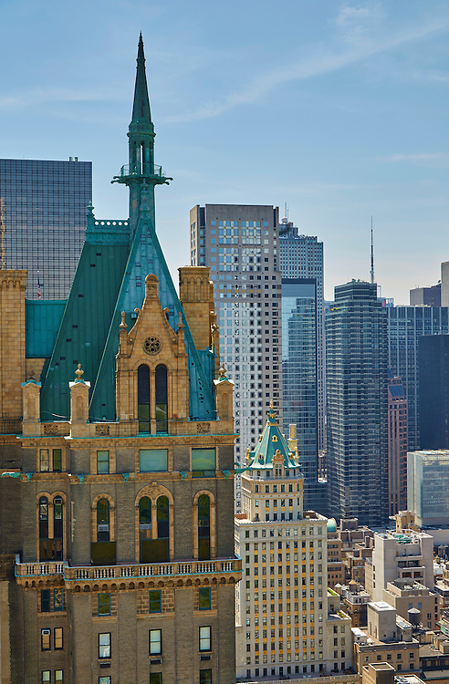 View of the top of Sherry Netherland from 795 Fifth Avenue Penthouse, The Pierre