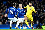 Chelsea midfielder Ruben Loftus-Cheek (12) knocks it past Everton midfielder Morgan Schneiderlin (18) during the Premier League match between Everton and Chelsea at Goodison Park, Liverpool, England on 17 March 2019.