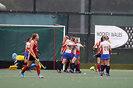 Russia players celebrate after they score their 2nd goal. Wales v Russia, semi final,  EuroHockey 11 Women's championshp 2017 in Cardiff, South Wales , Friday 11th August 2017<br /> pic by Andrew Orchard