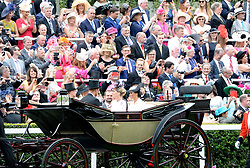 The Countess of Wessex and the Duchess of Sussex arrive during day one of Royal Ascot at Ascot Racecourse