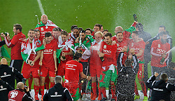 CARDIFF, WALES - Tuesday, October 13, 2015: Wales celebrate after qualifying for the finals following a 2-0 victory over Andorra during the UEFA Euro 2016 qualifying Group B match at the Cardiff City Stadium. Sam Vokes, James Collins, Ben Davies, Ben Davies, Simon Church, David Edwards, captain Ashley Williams, Neil Taylor, Emyr Huws, Jonathan Williams, Aaron Ramsey, Andy King, Chris Gunter, Joe Ledley. (Pic by Paul Currie/Propaganda)
