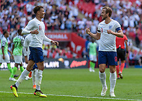 Football - 2018 International Friendly (pre-World Cup warm-up) - England vs. Nigeria<br /> <br /> Harry Kane (England) and Dele Alli (England) celebrate giving England a 2-0 lead at Wembley Stadium.<br /> <br /> COLORSPORT/DANIEL BEARHAM