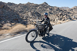 Paul Jung of Germany riding the 1915 Harley-Davidson entry from W and W Cycles of Wurzburg on the Palms to Pines Scenic Byway on the last day of the Motorcycle Cannonball Race of the Century. Stage-15 ride from Palm Desert, CA to Carlsbad, CA. USA. Sunday September 25, 2016. Photography ©2016 Michael Lichter.
