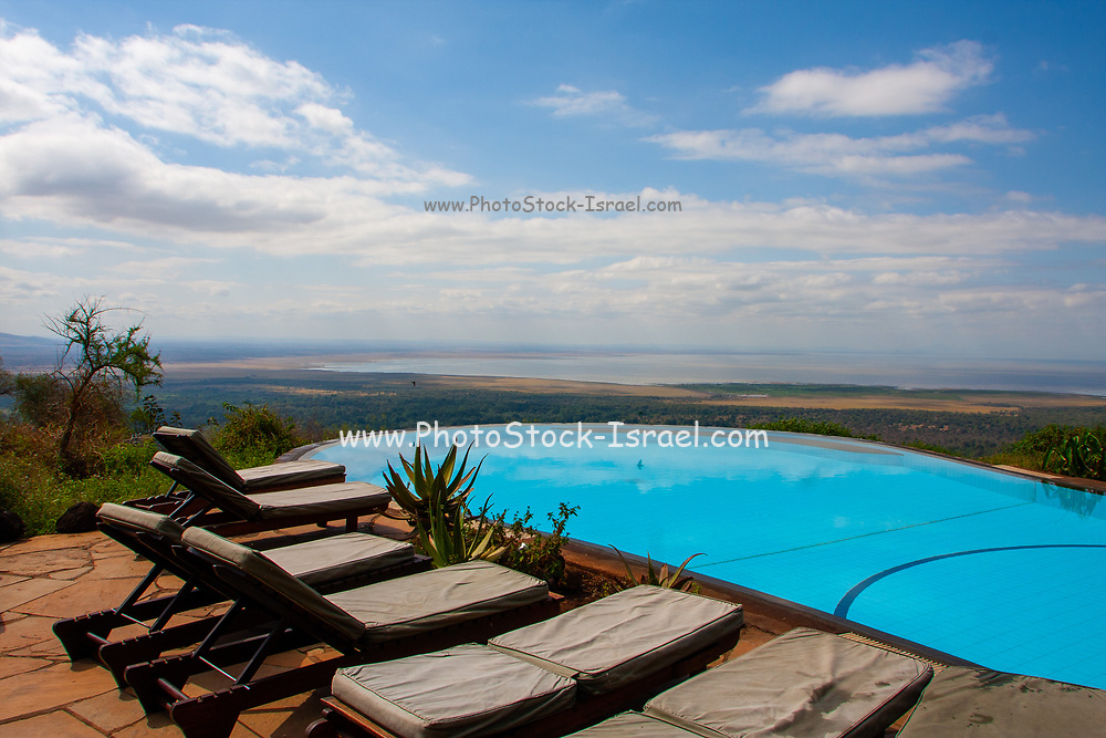 Tourist's lodge built among the trees at Lake Manyara National Park a national park in Arusha Region, United Republic of Tanzania
