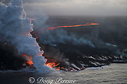 aerial view of lava originating from east rift zone of Kilauea Volcano, erupting from fissure 8 in Leilani Estates subdivision, near Pahoa, sending a river of lava to the coast and entering the ocean at Kapoho, Puna District, Hawaii ( the Big Island ), Hawaiian Islands, U.S.A.