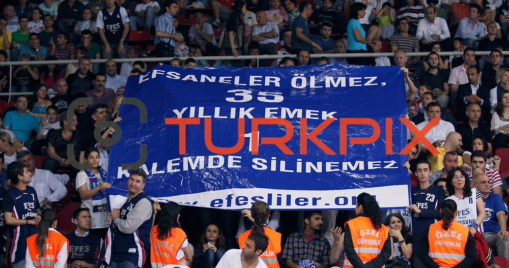 Efes Pilsen's supporters during their Turkish Basketball league Play Off Final Sixth Leg match Fenerbahce Ulker between Efes Pilsen at the Abdi Ipekci Arena in Istanbul Turkey on Wednesday 02 June 2010. Photo by Aykut AKICI/TURKPIX