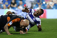 Jonjo Shelvey of Newcastle United collides into Jordan Cousins of QPR who reacts in pain. EFL Skybet football league championship match, Queens Park Rangers v Newcastle Utd at Loftus Road Stadium in London on Tuesday 13th September 2016.<br /> pic by John Patrick Fletcher, Andrew Orchard sports photography.