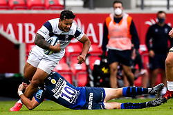 Alapati Leiua of Bristol Bears is tackled by AJ MacGinty of Sale Sharks - Mandatory by-line: Robbie Stephenson/JMP - 29/08/2020 - RUGBY - AJ Bell Stadium - Manchester, England - Sale Sharks v Bristol Bears - Gallagher Premiership Rugby
