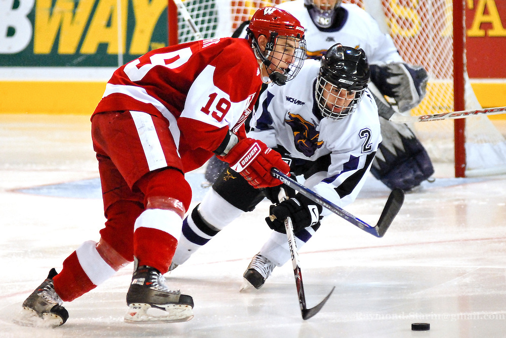 Minnesota State's Nick Canzanello fights Wisconsin's Jake Gardiner for the puck at the Alltel Center.