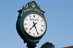 June 11, 2019 - Pebble Beach, CA, U.S. - PEBBLE BEACH, CA - JUNE 11:  A general scenic view of the clock near the practice putting green during the practice round for the 2019 US Open on June 11, 2019, at Pebble Beach Golf Links in Pebble Beach, CA. (Photo by Brian Spurlock/Icon Sportswire) (Credit Image: © Brian Spurlock/Icon SMI via ZUMA Press)