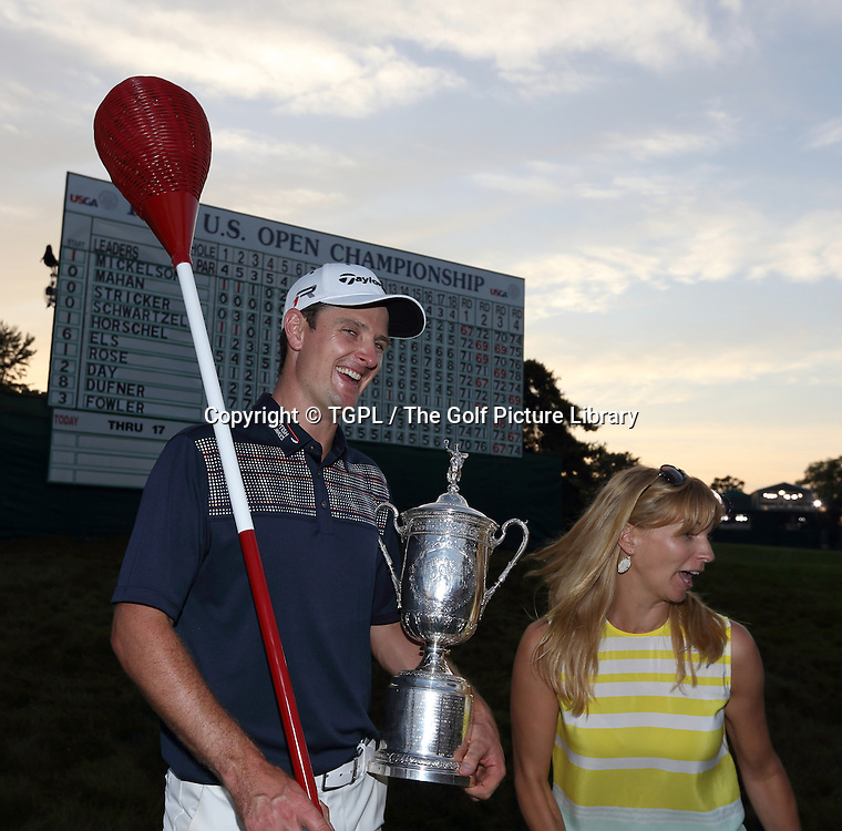 Justin ROSE (ENG) with his wife Kate and trophy during fourth round  US Open Championship 2013,Merion,East Course,Ardmore,PA,USA.