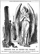 Benjamin Disraeli (1804-81) British Conservative statesman. 'Now, I am on the side of the Angels'. John Tenniel cartoon from 'Punch', London, 10 December 1864, after Disraeli's speech to the Oxford Union during the debate on evolution.