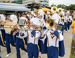 Sep 22, 2018; Morgantown, WV, USA; The West Virginia Mountaineers band leads the team into the stadium before their game against the Kansas State Wildcats at Mountaineer Field at Milan Puskar Stadium. Mandatory Credit: Ben Queen-USA TODAY Sports