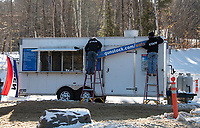 Mike Levasseur and Jeff Thibault put the finishing touches on one of the Gunstock Food Trucks located at the base of the Panorama lift on Friday.  (Karen Bobotas Photo/for The Laconia Daily Sun)