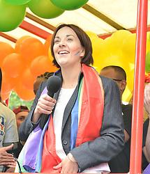 Scottish Labour leader Kezia Dugdale speaks to marchers before the annual Pride Scotia march in Edinburgh.<br /> <br /> © Dave Johnston/ EEm