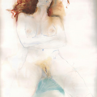 I was walking one day and in front of me was this woman with flaming red hair. I asked her to pose for me and she said absolutely. I painted and sold many nudes of her, but kept this one for myself. Materials: Pastel and pencil on museum-grade archival quality Rives paper
