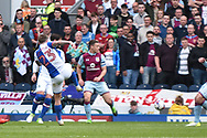 Blackburn Rovers Midfielder, Danny Guthrie (23) shoots during the EFL Sky Bet Championship match between Blackburn Rovers and Aston Villa at Ewood Park, Blackburn, England on 29 April 2017. Photo by Mark Pollitt.