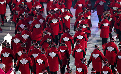 Canada athletes during the Opening Ceremony of the PyeongChang 2018 Winter Olympic Games at the PyeongChang Olympic Stadium in South Korea. PRESS ASSOCIATION Photo. Picture date: Friday February 9, 2018. See PA story OLYMPICS Ceremony. Photo credit should read: David Davies/PA Wire. RESTRICTIONS: Editorial use only. No commercial use