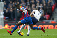 Harry Kane of Tottenham Hotspur (R) is fouled by Timothy Fosu-Mensah of Crystal Palace (L). Premier league match, Tottenham Hotspur v Crystal Palace at Wembley Stadium in London on Sunday 5th November 2017.<br /> pic by Steffan Bowen, Andrew Orchard sports photography.
