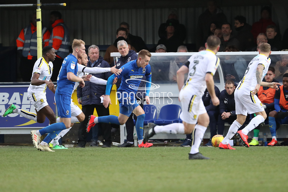 AFC Wimbledon striker Joe Pigott (39) dribbling down the wing during the EFL Sky Bet League 1 match between AFC Wimbledon and Burton Albion at the Cherry Red Records Stadium, Kingston, England on 9 February 2019.