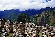 View of The Urubamba Valley from Machu Picchu ruins of Inca citadel in Peru, South America