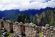 View of The Urubamba Valley from Machu Picchu ruins of Inca citadel in Peru, South America