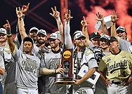 Players and coaches of the Vanderbilt Commodores celebrate after defeating the Michigan Wolverines to win the National Championship at the College World Series on June 26, 2019 at TD Ameritrade Park Omaha in Omaha, Nebraska.