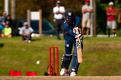 September 22, 2018 - Morrisville, North Carolina, US - Sept. 22, 2018 - Morrisville N.C., USA - Team USA JASKARAN MALHA (4) in bat during the ICC World T20 America's ''A'' Qualifier cricket match between USA and Canada. Both teams played to a 140/8 tie with Canada winning the Super Over for the overall win. In addition to USA and Canada, the ICC World T20 America's ''A'' Qualifier also features Belize and Panama in the six-day tournament that ends Sept. 26. (Credit Image: © Timothy L. Hale/ZUMA Wire)
