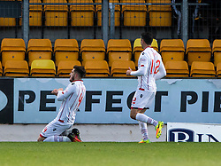 Ross County's Christopher Routis (4) cele scoring their second goal. half time : St Johnstone 0 v 2 Ross County. SPFL Ladbrokes Premiership game played 19/11/2016 at St Johnstone's home ground, McDiarmid Park.