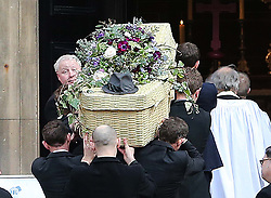 A wicker basket coffin of Only Fools and Horses actor  Roger Lloyd-Pack who played Trigger in the TV show , arriving at St.Paul's Church in  London, Thursday, 13th February 2014. Picture by Stephen Lock / i-Images